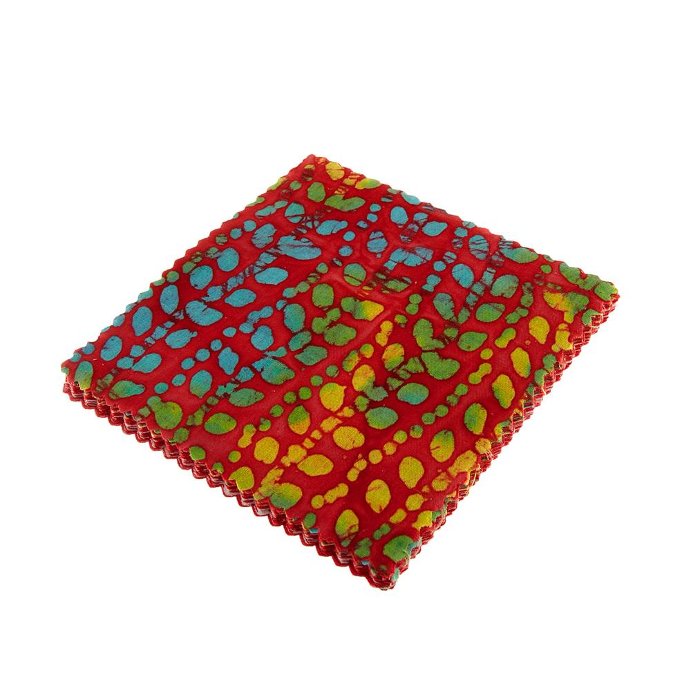 "Indian Batiks Assorted 5"" Charm Pack Red"
