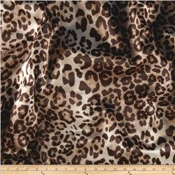 Stretch Crepe Back Satin Leopard Brown