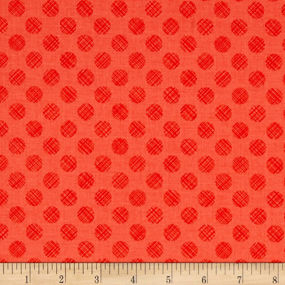 Poppies In Bloom Red Linen Dots Red Cozy