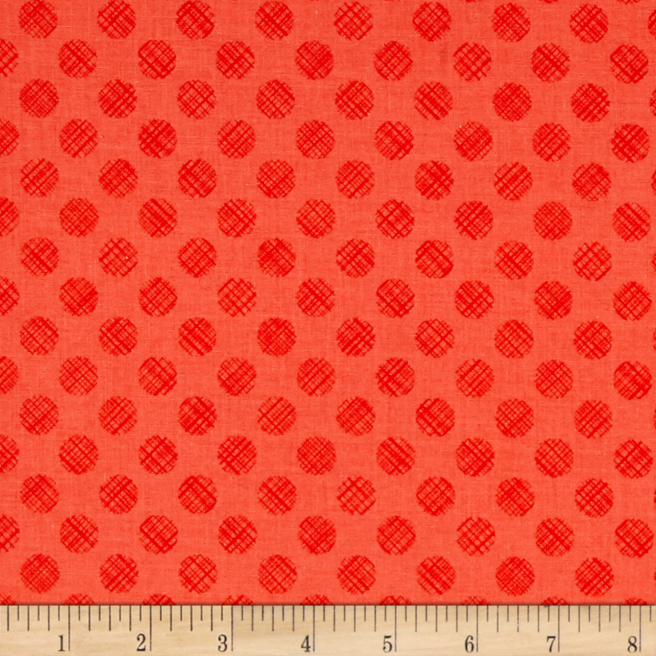 Poppies In Bloom Red Linen Dots Red Cozy Fabric by E. E. Schenck in USA