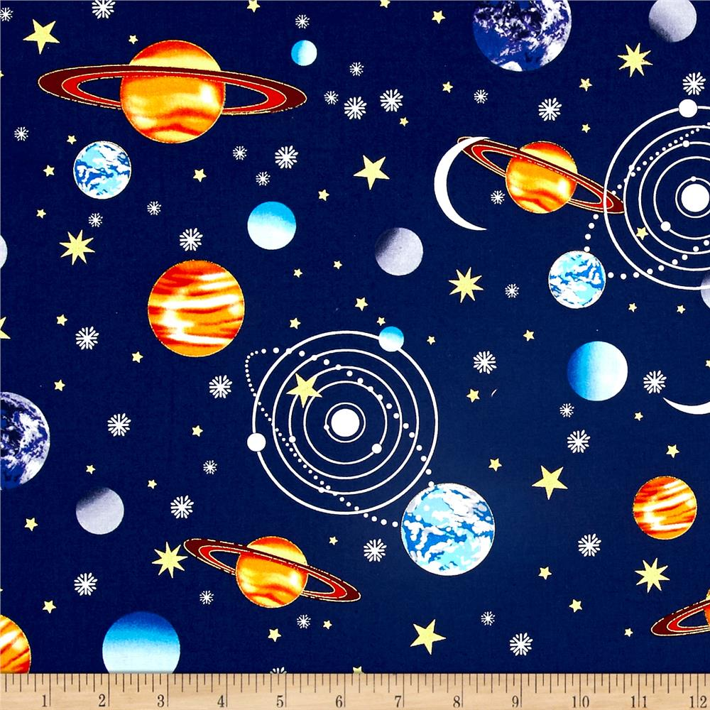 Starlight metallic planets navy discount designer fabric for Planet print fabric