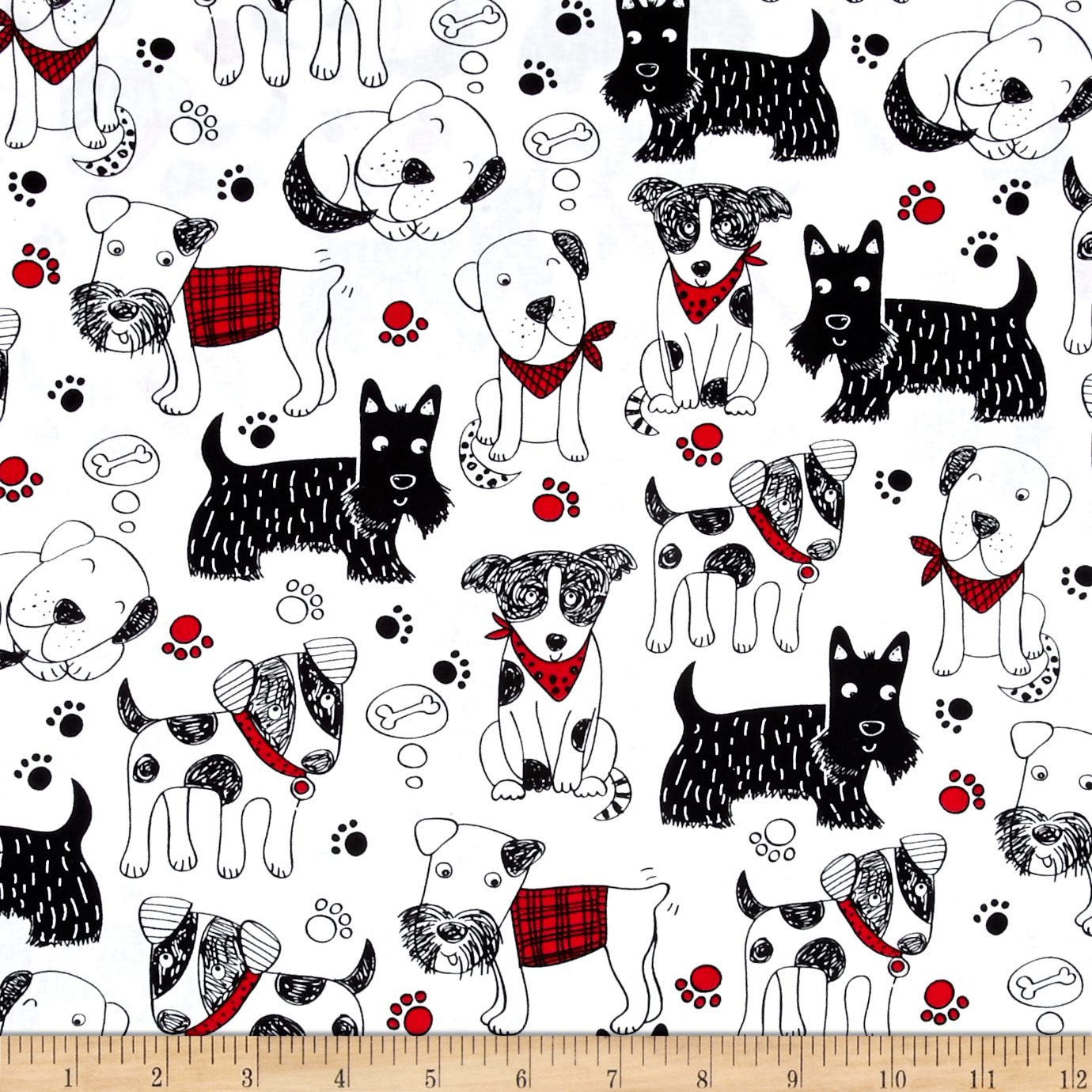 Timeless Treasures Scribble Dogs White Fabric