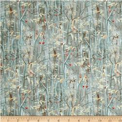 Winter Gathering Branches & Leaves Blue Fabric