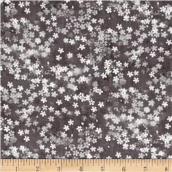 Shimmery Bouquets Floral Shades Gray Fabric