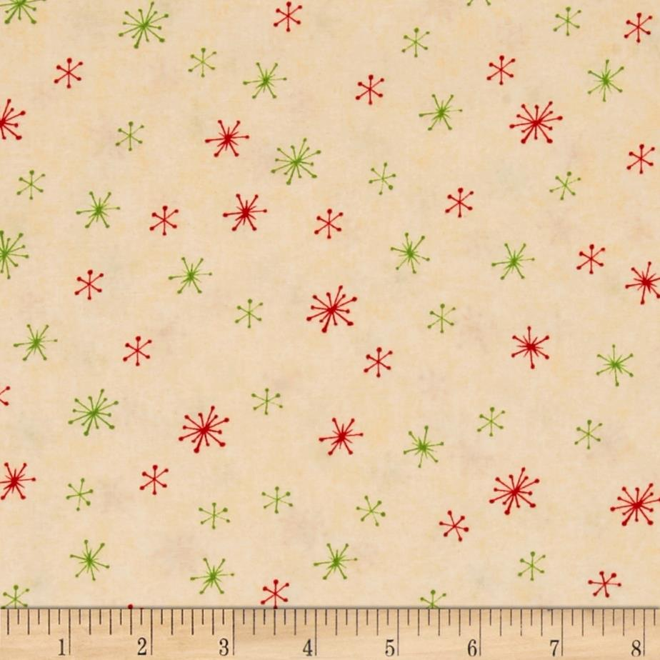 Debbie Mum Santa And Friends Snowflakes Tan Fabric By The Yard