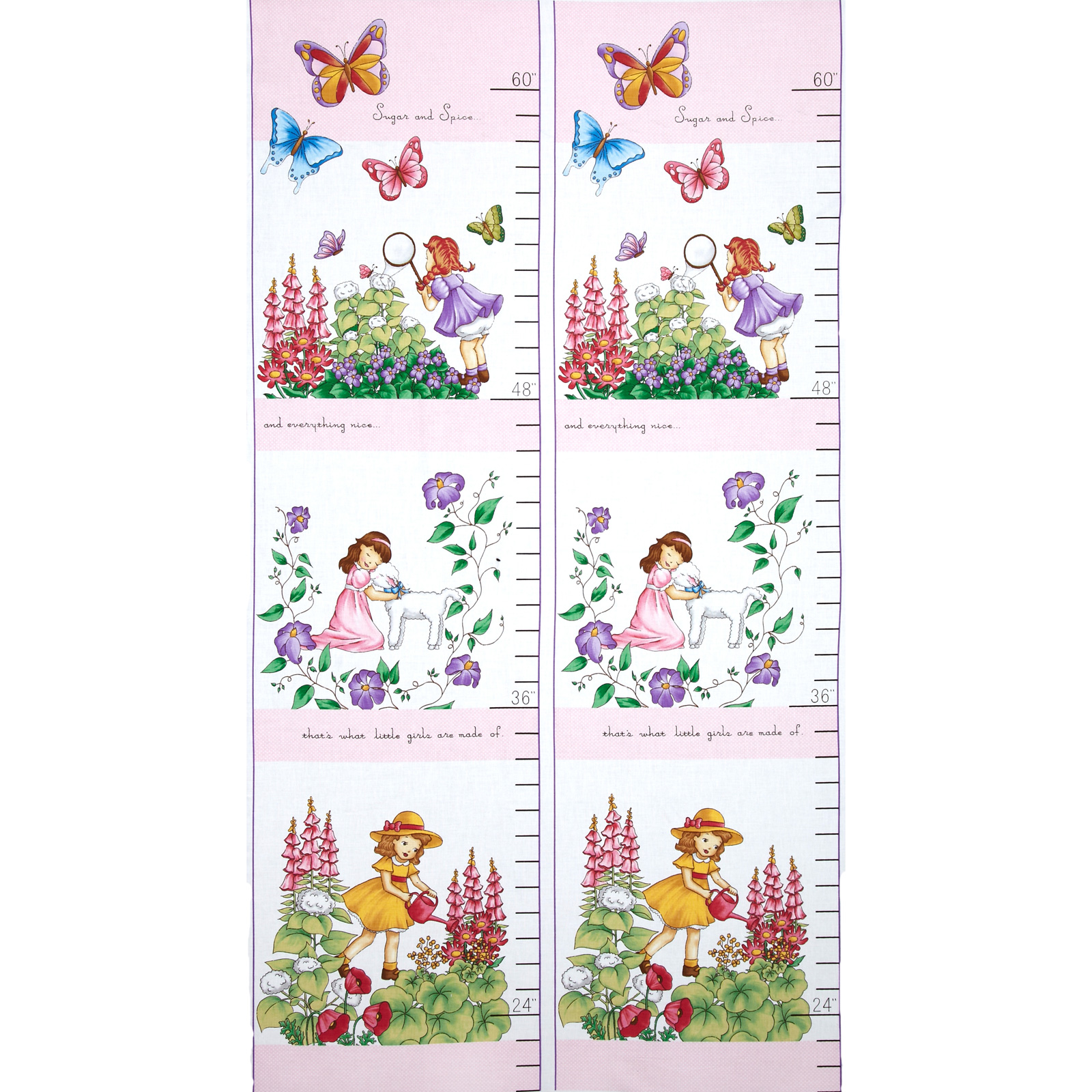 Sprout and Spell Girl Growth Chart Panel Garden