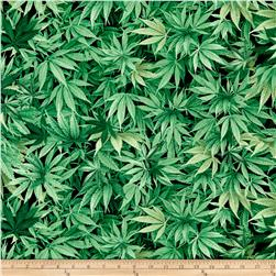 Timeless Treasures Cannabis Leaf Green