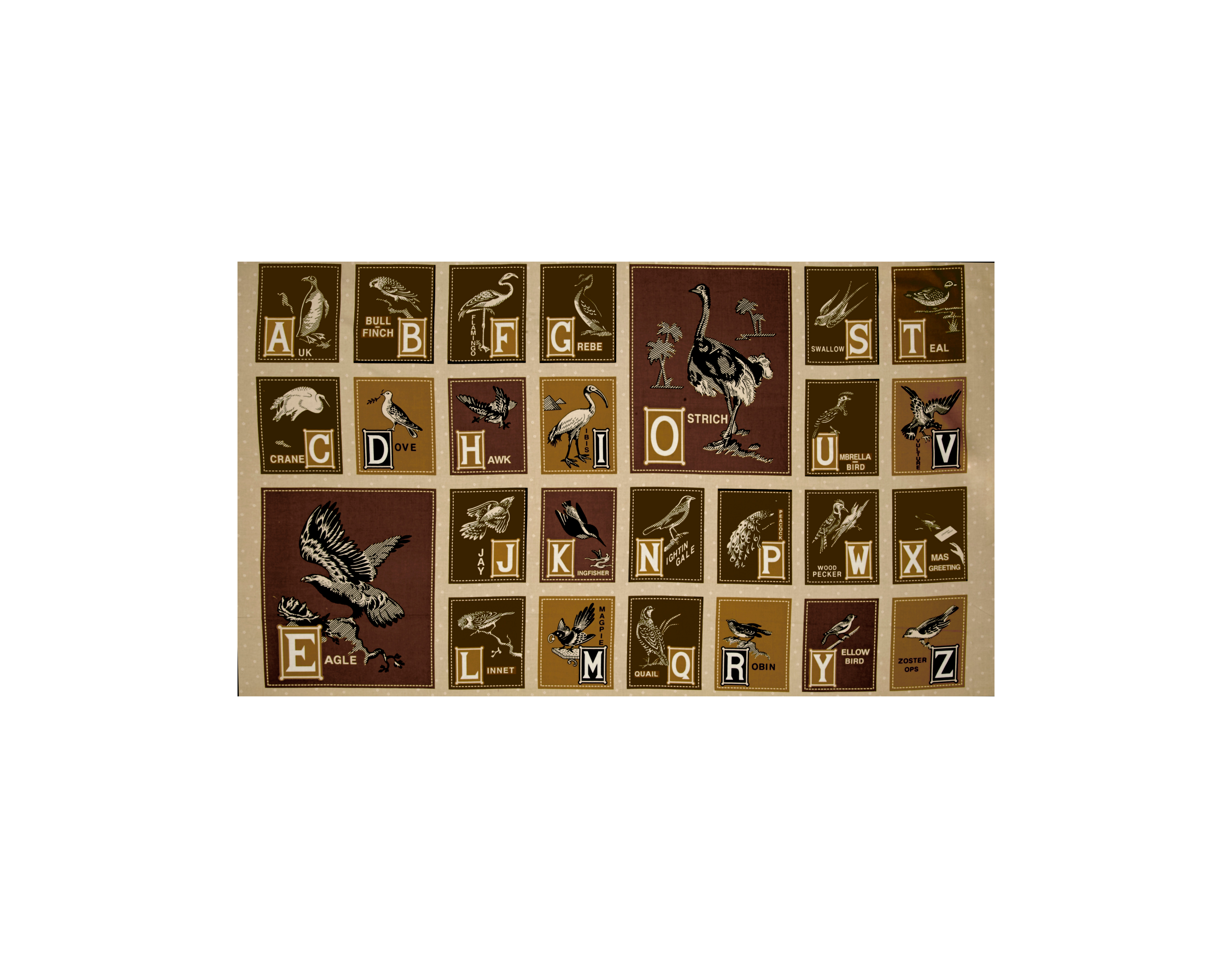 Image of Birds of A Feather Alphabet 24 In. Panel Cream Brown Fabric