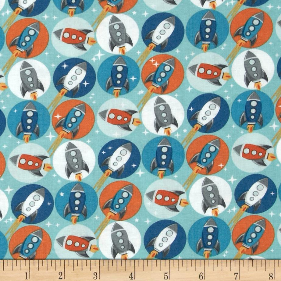 Blast-Off Rockets In Circles Teal