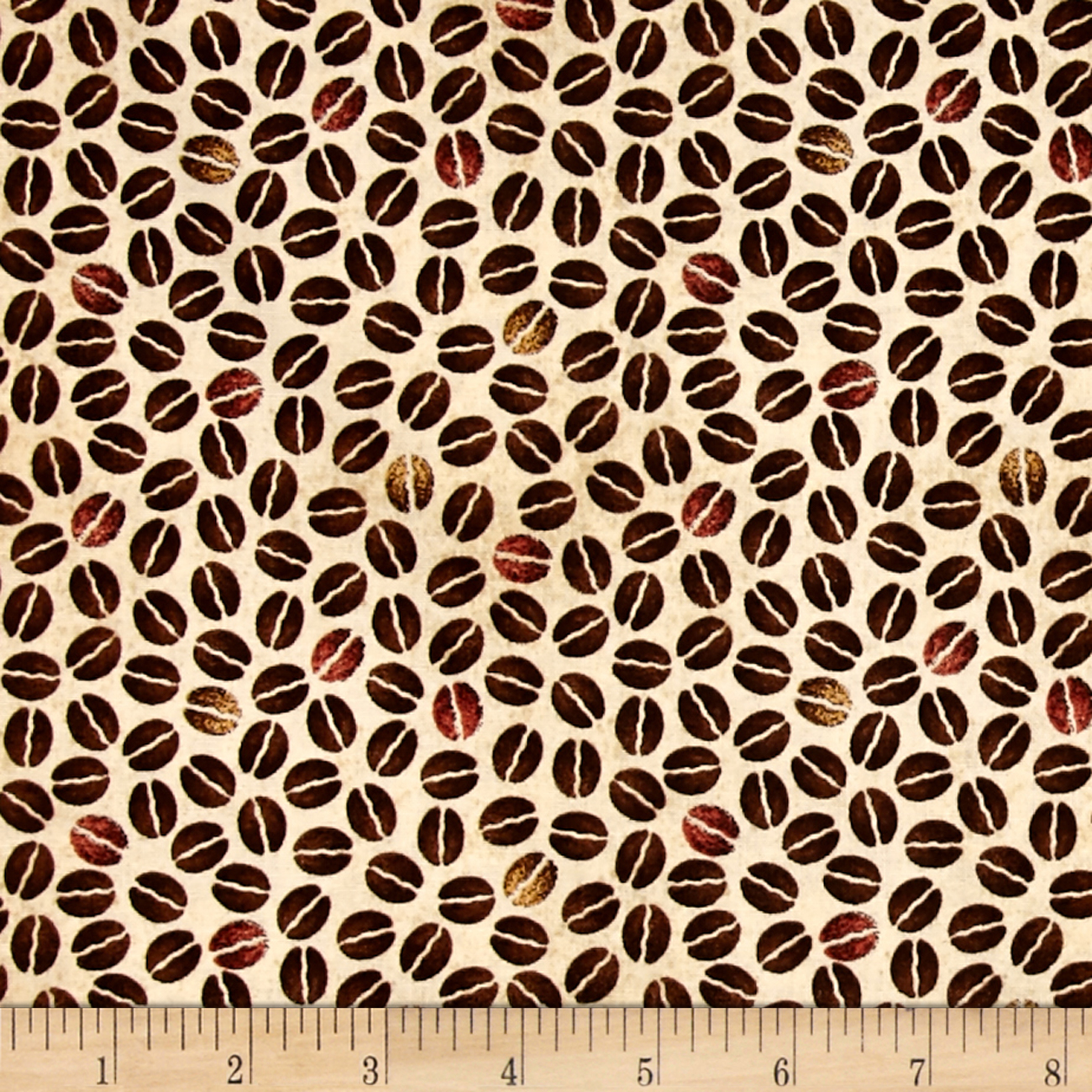 Image of Daily Grind Coffee Beans Beige Fabric