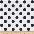 Riley Blake Le Creme Basics Medium Dots Cream/Navy