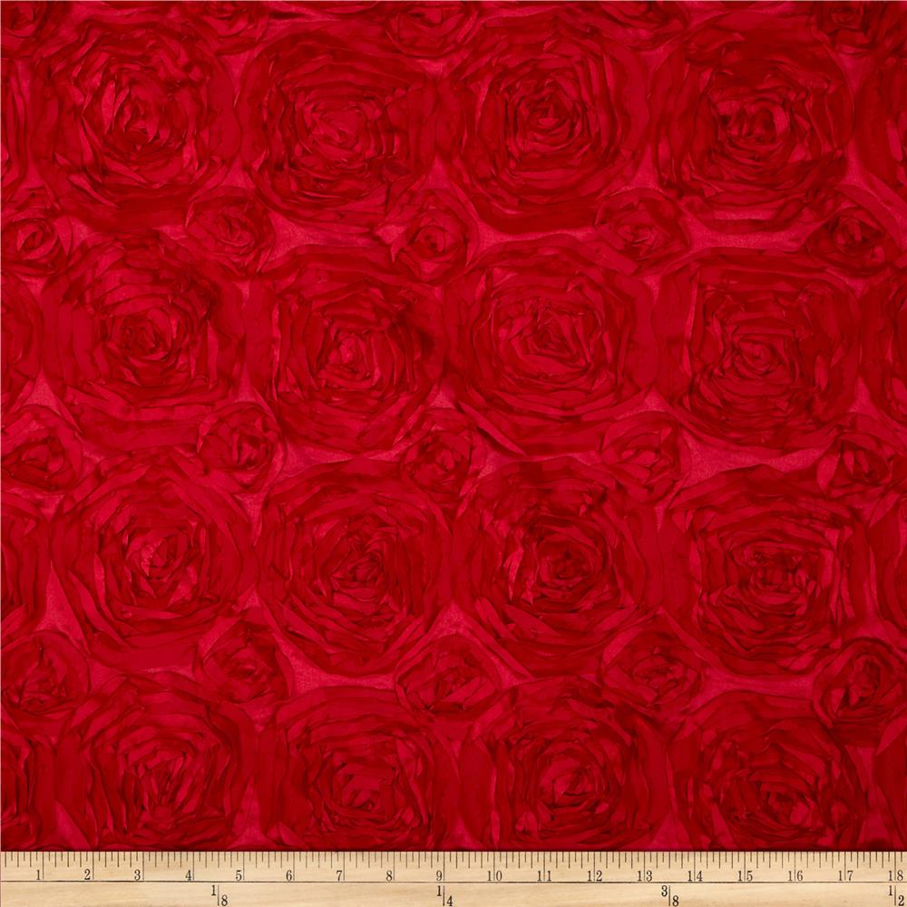 Rosette satin red discount designer fabric for Satin fabric