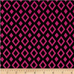 Crepe Double Knit Geometric Black/Pink