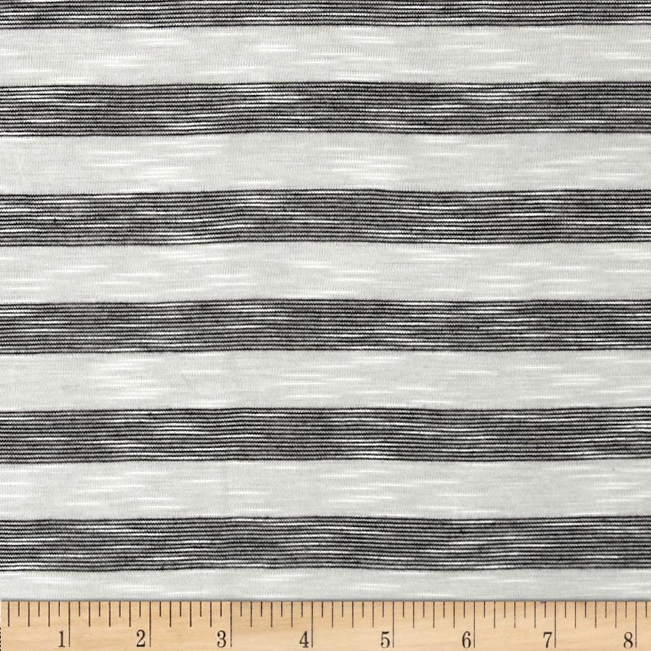 Slub Yarn Dyed Jersey Knit Stripe Black/White