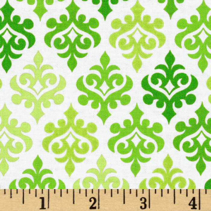 Moda Giggles Wallpaper Giggles Grenade Green Fabric