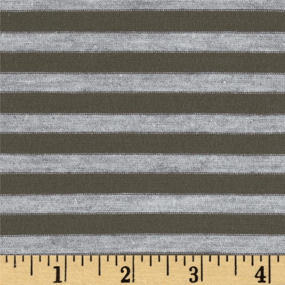 Designer Yarn Dyed Jersey Knit Stripes Grey/Charcoal