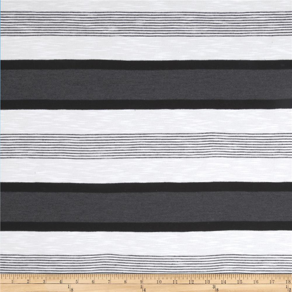 Designer Yarn Dyed Jersey Knit Stripes White/Dark Grey