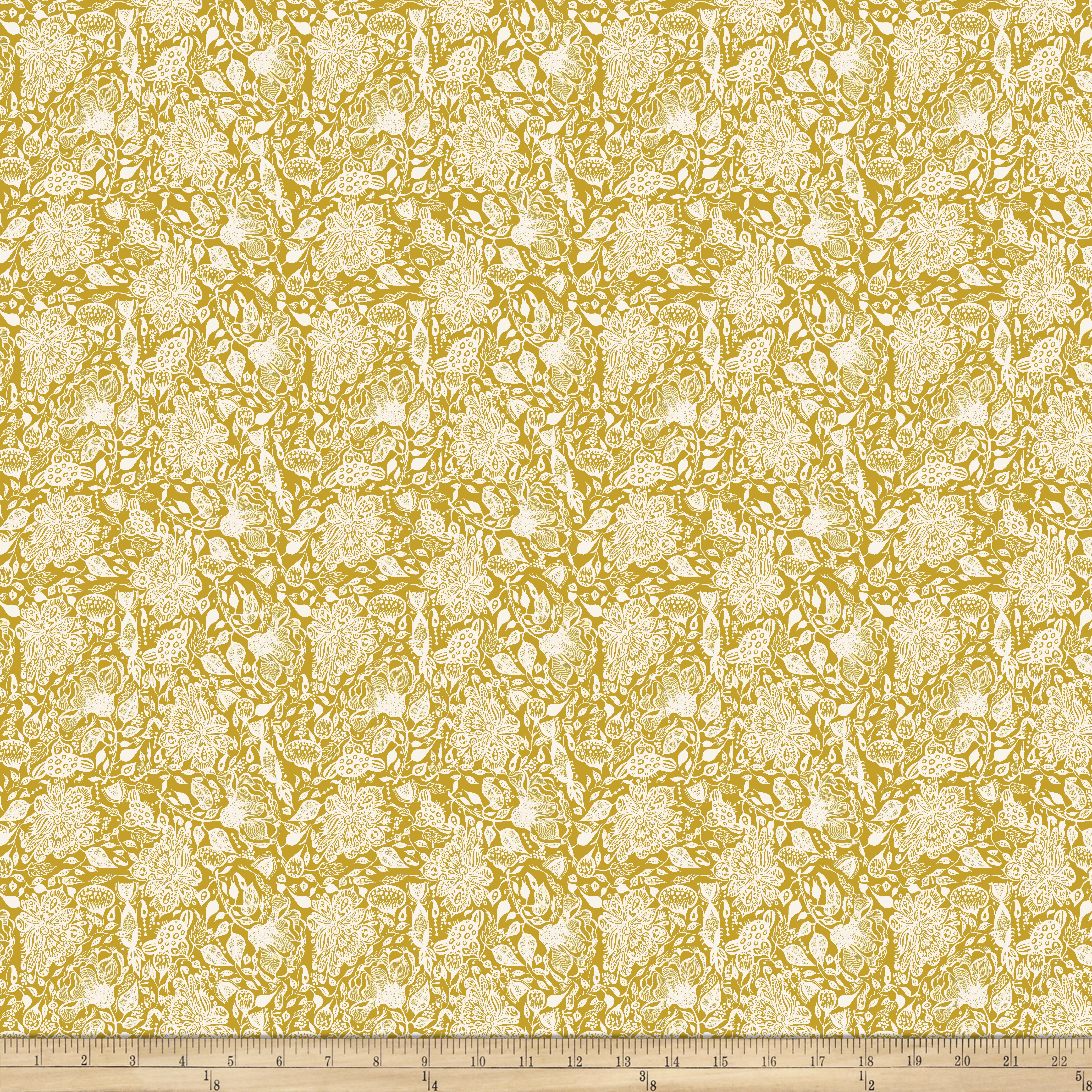 INOpets.com Anything for Pets Parents & Their Pets Garden Dreams Dream Mustard Fabric