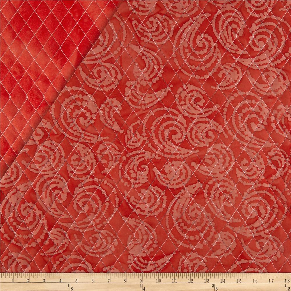 Indian Batik Double Sided Quilted Large Swirl Red