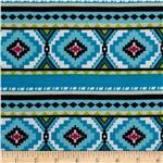 Stretch Jersey Knit Aztec Stripe Turquoise/White