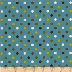 Metro Hexagon Dots Dusty Teal