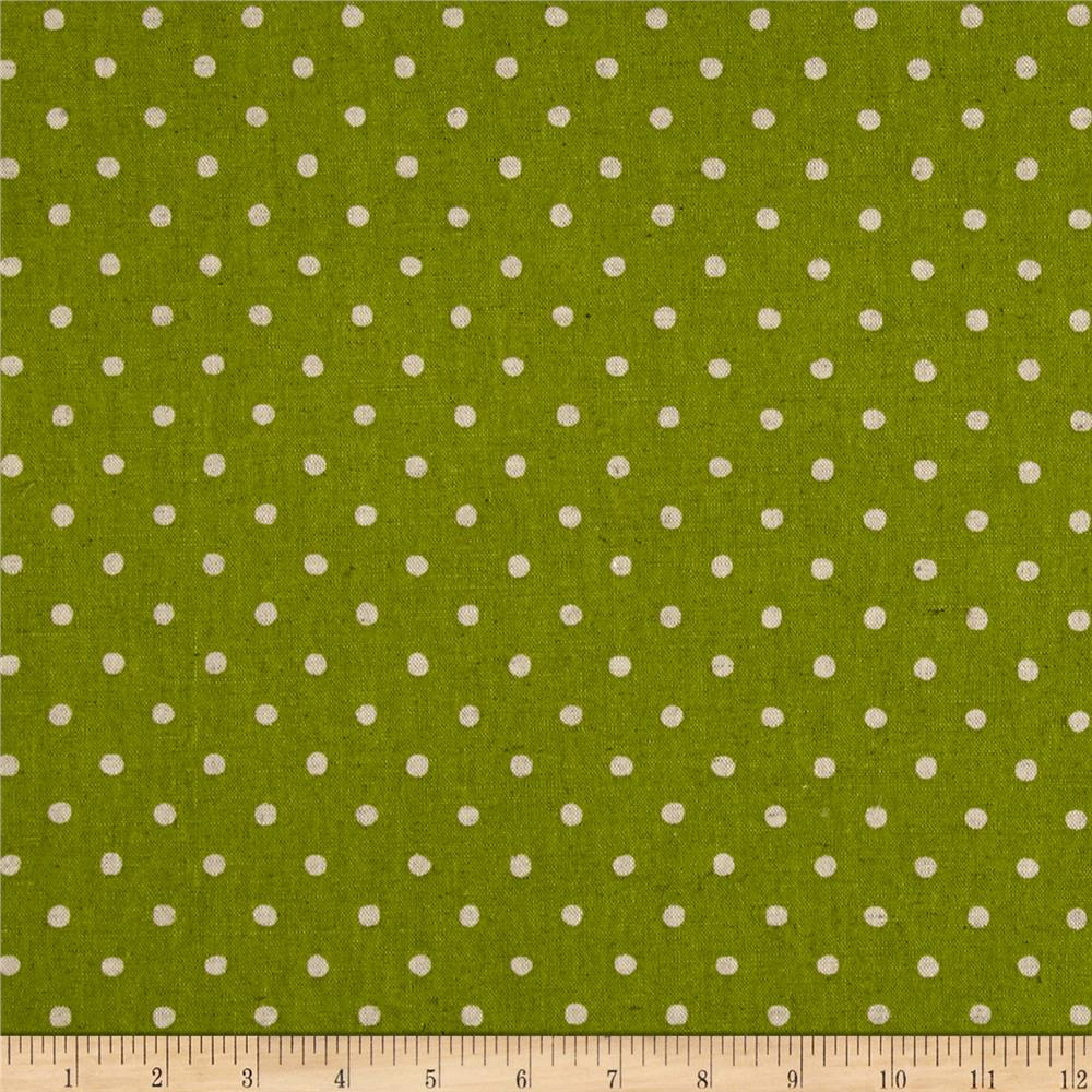 Kaufman Sevenberry Canvas Natural Dots Small Lime