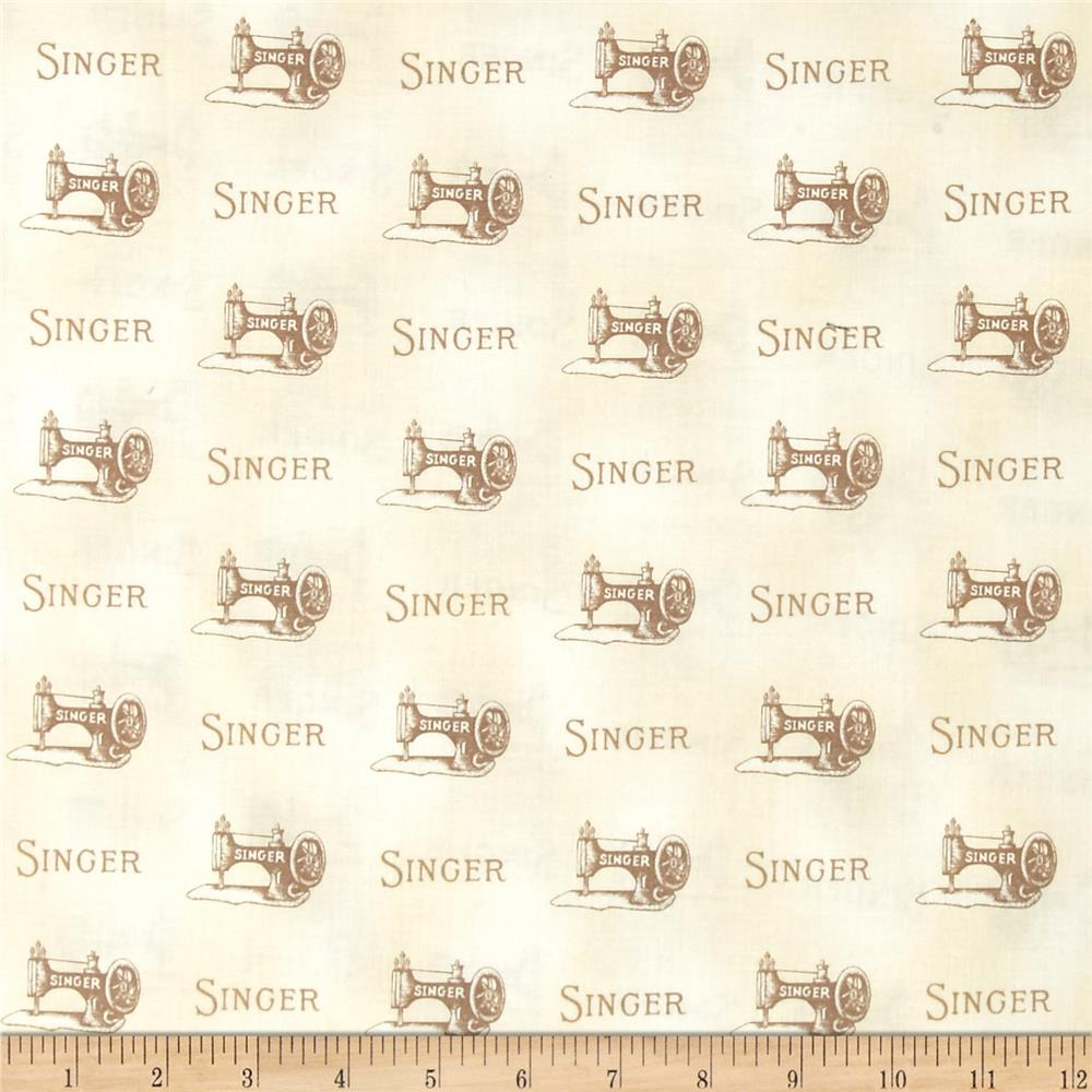 Sewing With Singer Machine and Words Ivory