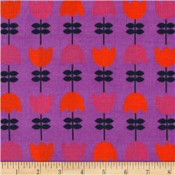 Kaufman Cool Cords Flower Stripe Amethyst Fabric