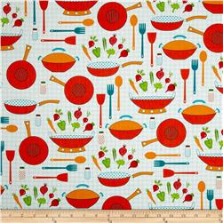 Cultivate and Cook Kitchen Ware Blue Fabric