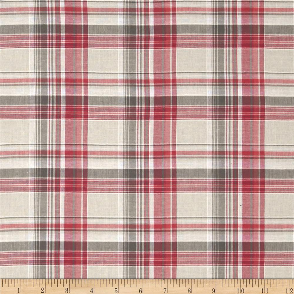 Yarn Dyed Plaid Shirting Fuchsia/Taupe