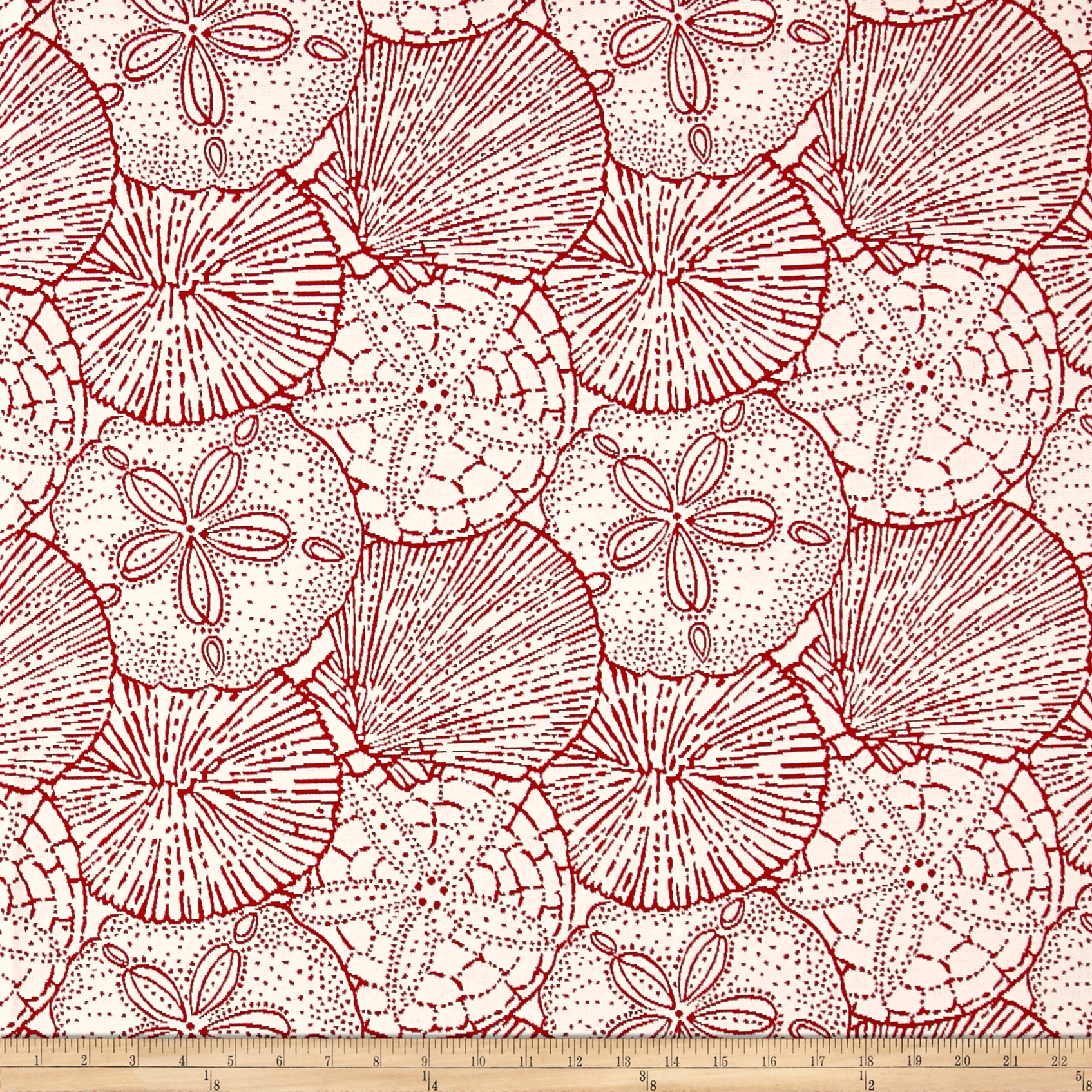 P/Kaufmann Outdoor Jacquard Sea Shells Red Snapper Olefin Fabric by P Kaufman in USA