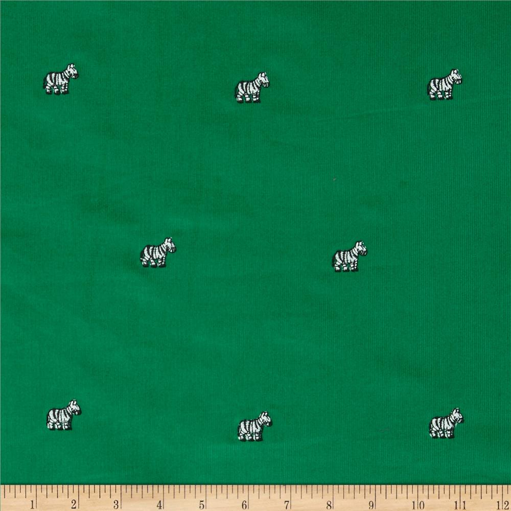 Embroidered 21 Wale Corduroy Zebra Green/White