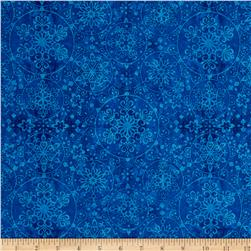 Santa Coming To Town Snowflake Medallions Dark Blue