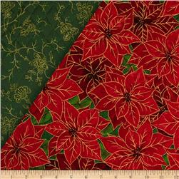 Season's Greetings II Double Face Quilted Poinsettia Red