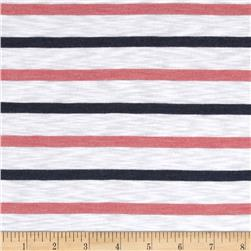 Designer Yarn Dyed Slub Jersey Knit Stripes Navy/Coral