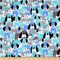 Michael Miller Pastel Pop It's A Boy Thing Flannel Dog Dang It Aqua