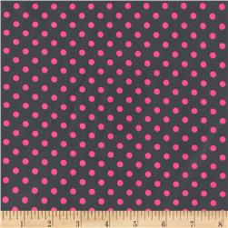 Michael Miller Neon Dot Laminated Cotton Pluto Grey/Pink