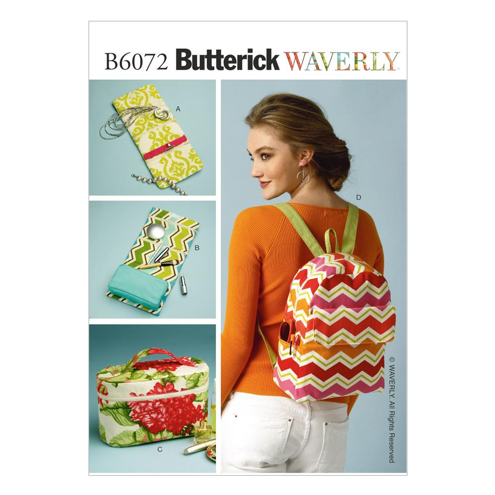 Butterick Cases, Cosmetic Bag and Backpack Pattern B6072 Size OSZ