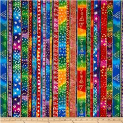 Laurel Burch Enchantment Metallic Holiday Stripe Multi Bright