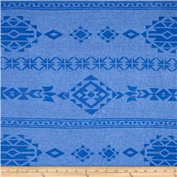 Rib Knit Aztec Print Denim Blue