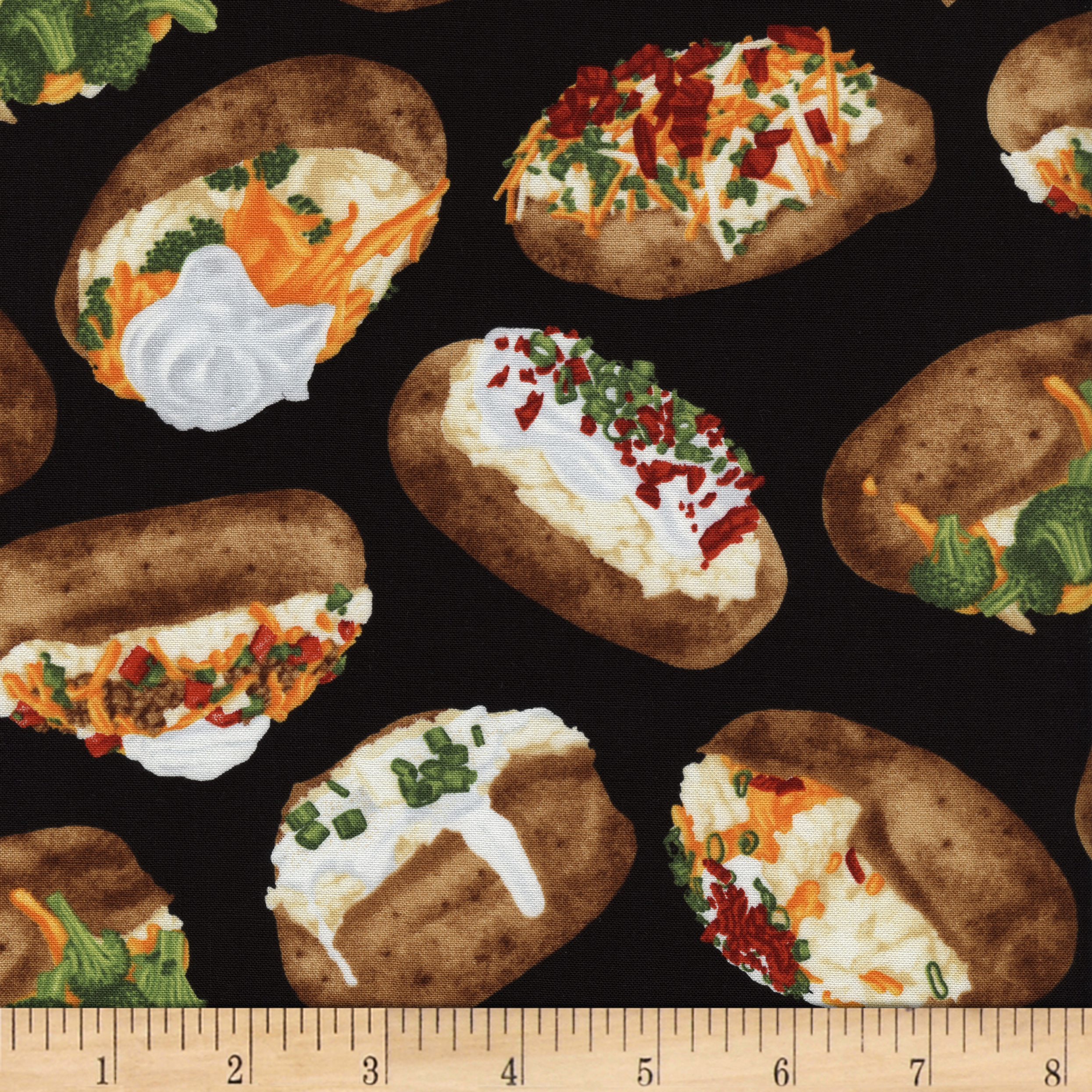 Comfort Food Loaded Baked Potato Black Fabric