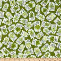 Herb Garden Labels Olive Fabric