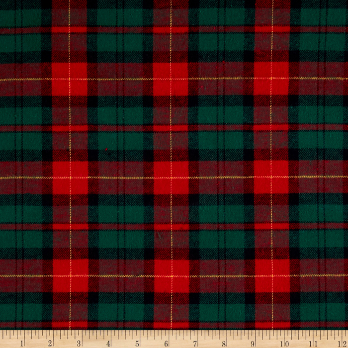 Yarn Dyed Flannel Plaid Hunter/Wine Fabric by Newcastle in USA
