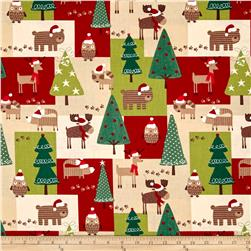 Woodland Christmas Patchwork Multi