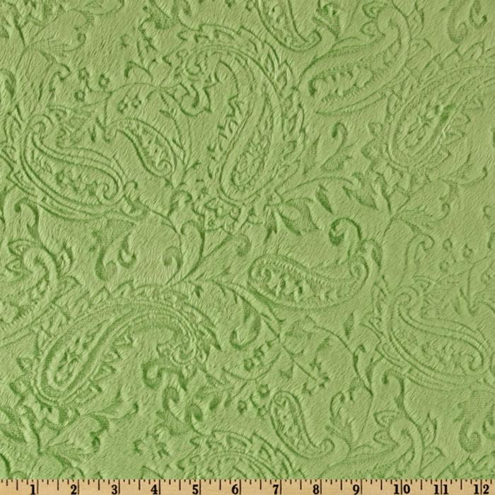 Shannon Minky Paisley Cuddle Embossed Olive