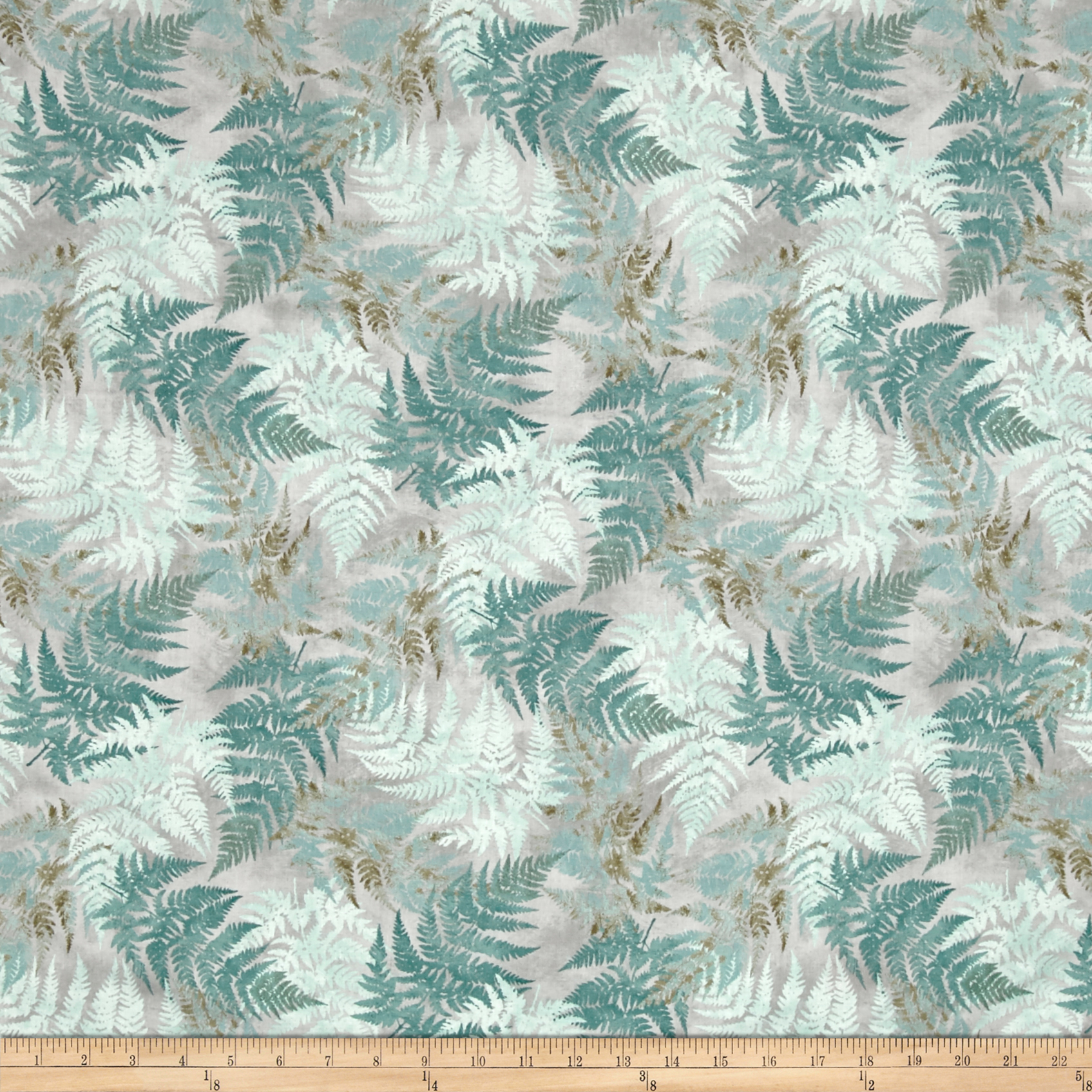 Neutral Nature Ferns Allover Grey Fabric by MM Fab in USA