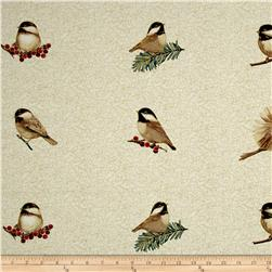 Chickadees & Berries Metallic Chickadee Applique Print Vanilla