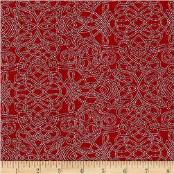 Robert Kaufman Holiday Flourish Metallic Squiggle Red