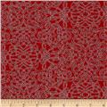 Kaufman Holiday Flourish Metallic Squiggle Red