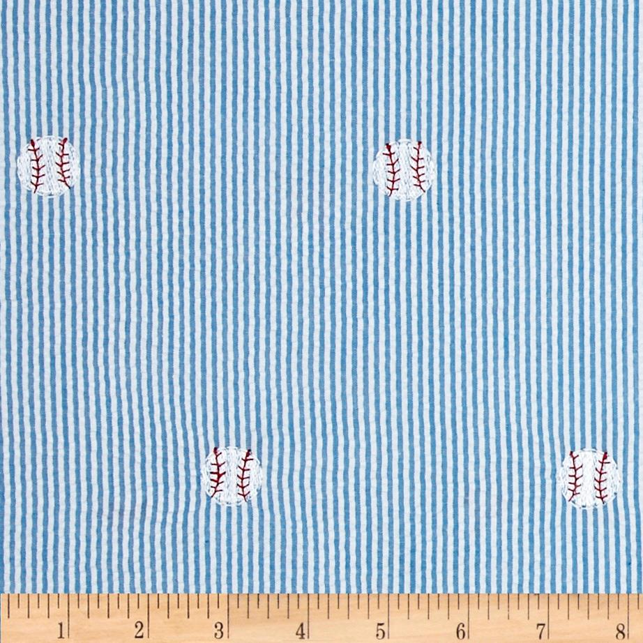 Embroidered Seersucker Turquoise/White Baseball